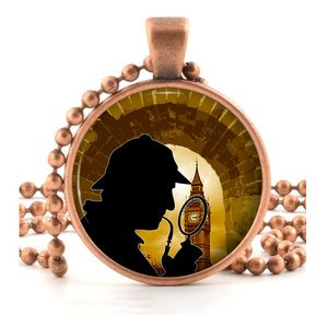Copper Sherlock Holmes Pendant Necklace Spy Crime Mystery London Fan Art Jewelry
