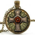 Steampunk Jewelry - Vintage Antique Style - Cross & Red Rose Picture Pendant Art