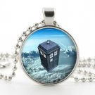 Silver Dr Who Tardis Necklace Pendant - Time Machine Sci Fi Art Police Box Gift