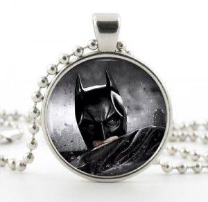 Silver Batman Necklace Pendant - The Dark Knight Movie Art - Superhero Jewelry