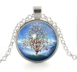 Tree Pendant Necklace - Silver Sky Blue Rainbow Pink Flowers - Girl Jewelry Gift