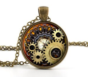 Steampunk Necklace Pendant - Vintage Bronze Compass Gears Cog Jewelry & Gift Bag
