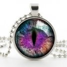 Purple Dragon Cat Eye Necklace Pendant - Silver Fantasy Color Photo Art Jewelry