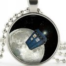 Doctor Who Tardis Pendant - Silver Necklace - Dr Who Moon Sci-Fi Art Jewellery