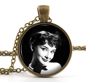 Vintage Audrey Hepburn Pendant Necklace - British Actress American Film Star