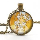 Mucha Lily Pendant Necklace - Vintage Antique Art Nouveau Picture Womens Jewelry
