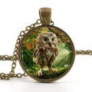 Owl Necklace Pendant - Cute Baby Bird Art - Vintage Woodland Picture Jewellery