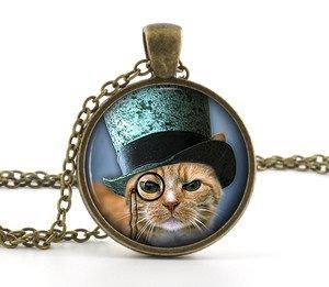 Kitten Steampunk Pendant Necklace - Little Kitty Top Hat Cat Picture Jewelry