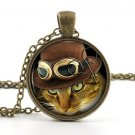 Cat Steampunk Necklace Picture Pendant - Funny Humour Ginger Kitten Jewellery