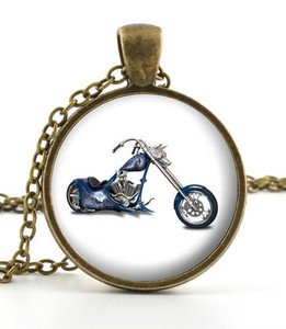 American Chopper Pendant - Necklace - Motorcycle Motorbike Biker Art Jewellery