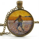 Vintage Vincent van Gogh Pendant Necklace - Soleils Art Charm Picture Jewellery