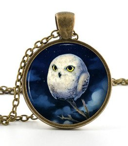 White Owl Pendant - Necklace - Vintage Baby Owlet Bird Night Art Owl Jewellery