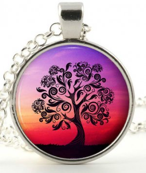 Tree of life necklace - Silver pendant - Colourful Fantasy Woodland Jewellery