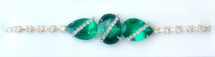 Stunning  Designer 925 Sterling Silver Bracelet with Emerald