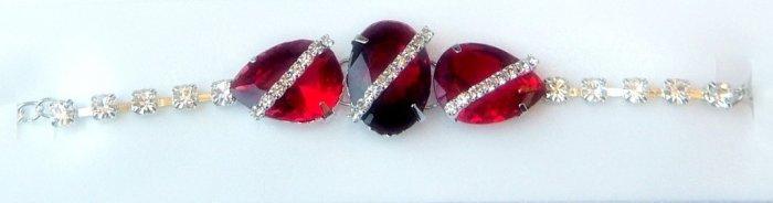Stunning  Designer 925 Sterling Silver Bracelet with Ruby