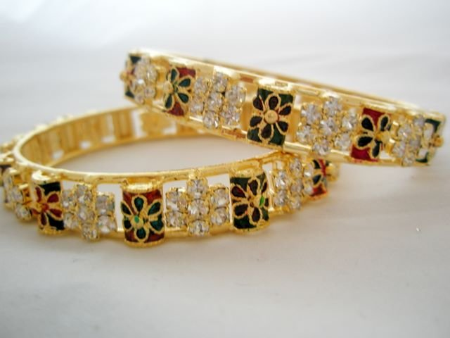 Party Crystal Rhinestone Enamel Bangle Bracelet Pair