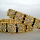 Exquisite Crystal Rhinestone Pearl Enamel Bangle Bracelet Pair