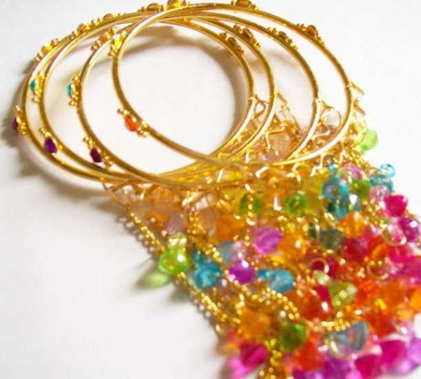 Small Size Gold Plated Bangles Bracelets with Trinkets Hangings Beads 4Pc