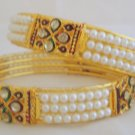 Hyderabad Pearl and Gold Plated Metal Bangle Bracelet Pair