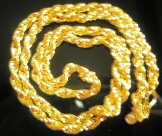 Fabulous 22 Inch 22K Gold Plated Rope Chain Hip Hop Unisex