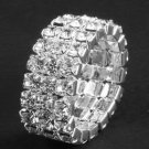 3 Row Crystal Rhinestone Silver Adjustable Bridal Wedding Ring