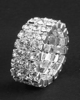 3 Row Crystal Rhinestone Silver Adjustable Bridal Wedding Ring