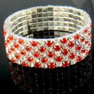 Red 5 Row Wedding Crystal Rhinestone Stretchable Bracelet