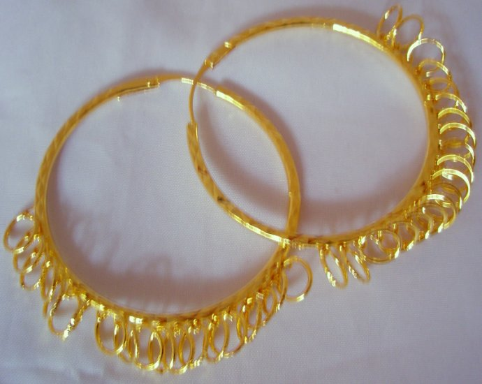 Big Large Celebrity Gold Plated Hoop Circle Earrings