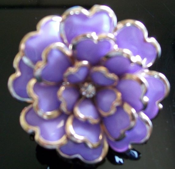 Large Multi Petaled Enamel Rhinestone Adjustable Flower Cocktail Ring