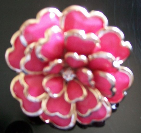 Party Enamel Rhinestone Adjustable Flower Cocktail Ring