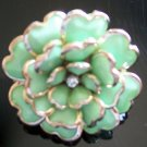 Vintage Victorian Enamel Rhinestone Adjustable Flower Cocktail Ring