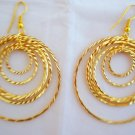 Textured Gold Plated Concentric Hoop Circle Orbit Earrings