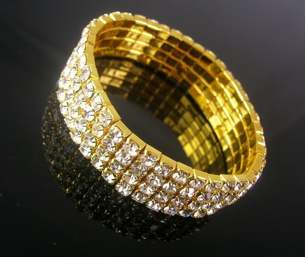 4 Row Party Crystal Rhinestone Gold Plated Stretchable Bracelet