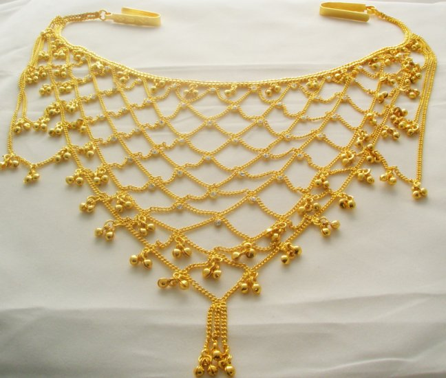 Bridal Gold Plated Metal Rhinestone Belly Hip Waist Chain Belt India