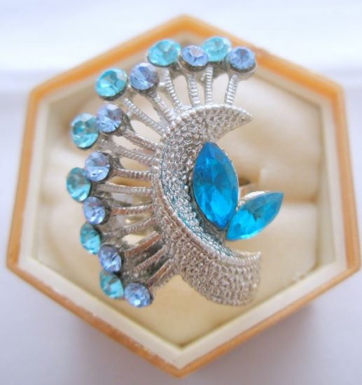 Turquoise Crystal Rhinestone Silver Adjustable Ring