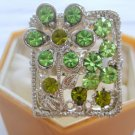 Green Flower Crystal Rhinestone Silver Adjustable Ring