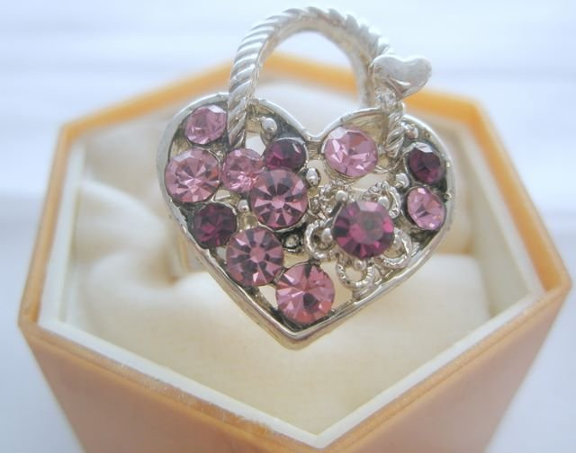 Amethyst Heart Purse Crystal Rhinestone Silver Adjustable Ring