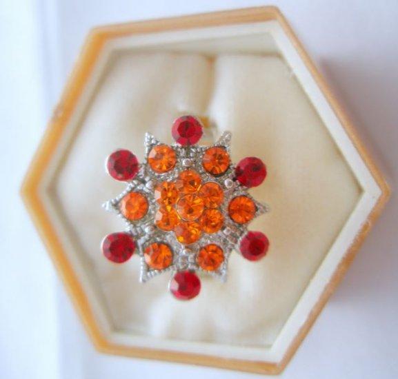 Red Orange Crystal Rhinestone Silver Adjustable Ring