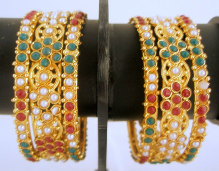 Set of Six Kundan Ruby Emerald Pearl Bangle Bracelet