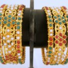Set of Six Kundan Ruby Emerald Pearl Bangle Bracelet