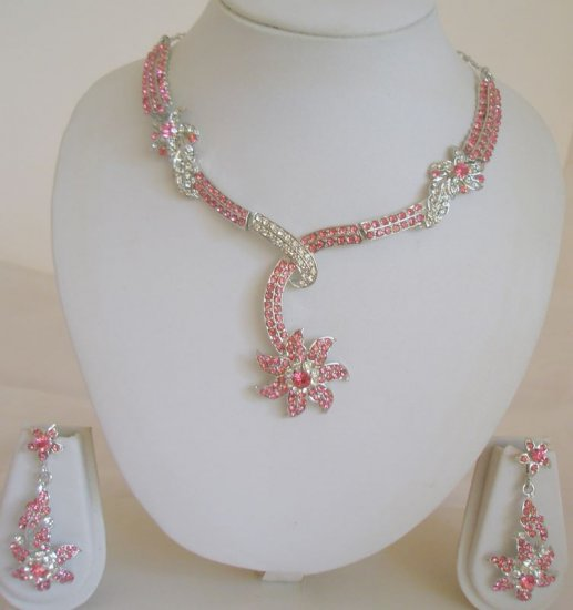 Pink Silver Crystal Rhinestone Necklace Earring Set
