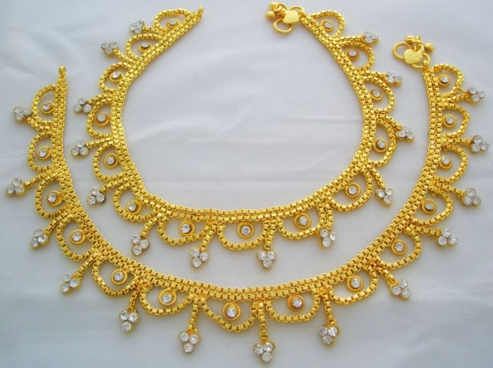 Indian Gold Plated Anklets Pair Bollywood Belly Dance Party