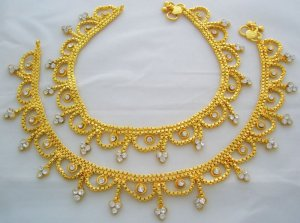 Bollywood Belly Dance Gold Plated Anklet Pair