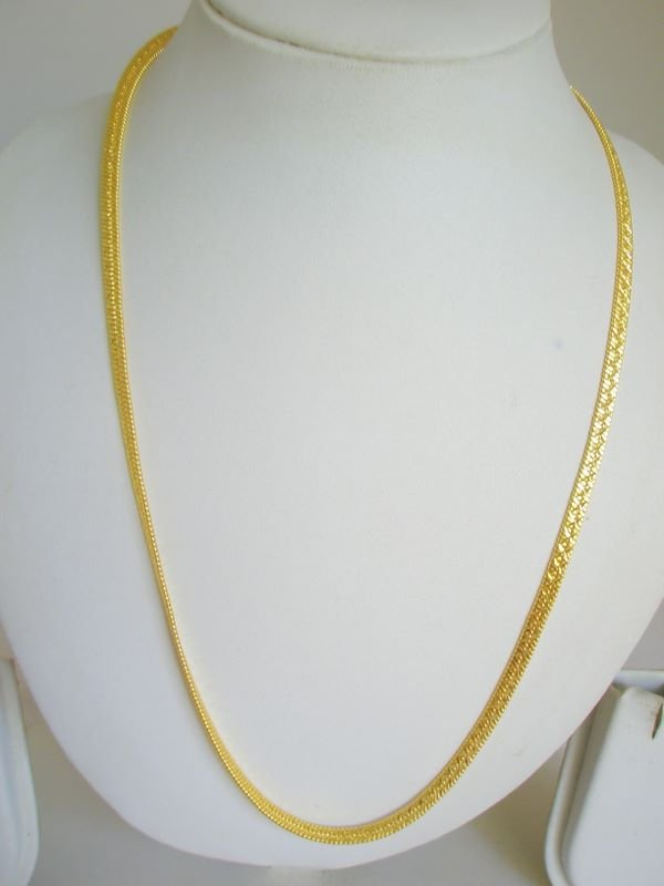24K Gold Plated Herringbone Chain Necklace 22 Inches