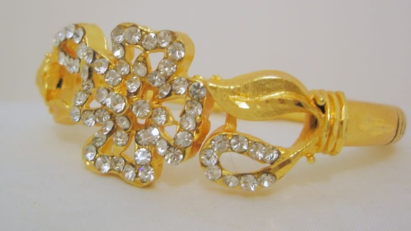 Extra Small Size Crystal Rhinestone Hinged Bracelet Pair