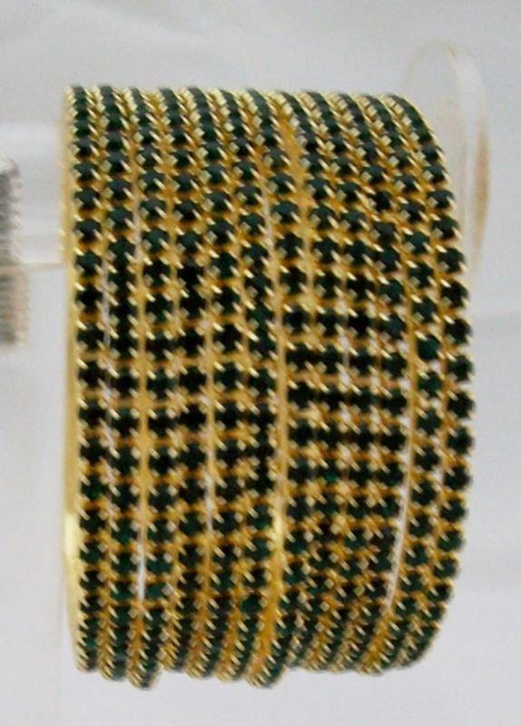 Stackable Crystal Rhinestone Bangle Bracelet 12pcs Green