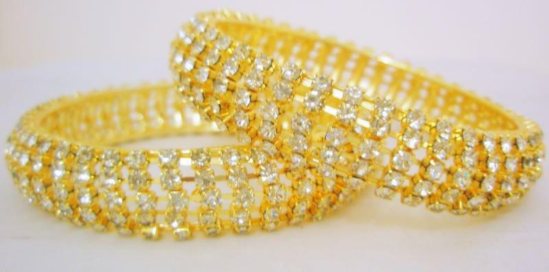 Wide Gold Crystal Rhinestone Bangle Bracelet Pair