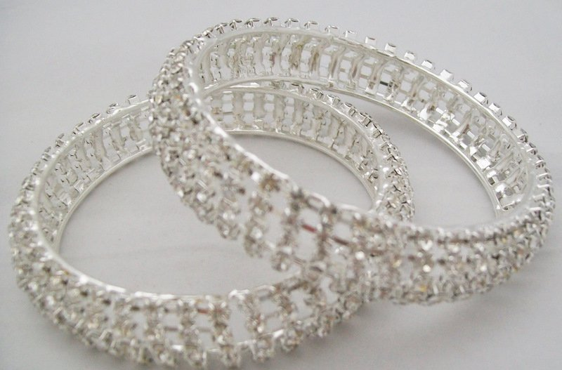 Wide Silver Crystal Rhinestone Bangle Bracelet Pair