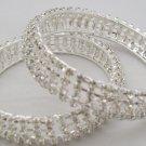Wide Silver Crystal Rhinestone Bangle Bracelet Pair