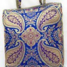 Blue Paisley Silk Embroidered Brocade Purse Handbag Tote